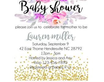DIGITAL/ PRINTABLE Custom Floral Baby Shower Invitation- Purple flowers