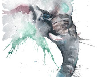 Elephant Watercolour Painting Giclee Print A4