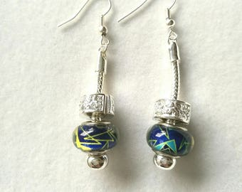 Earrings multicolored blue night