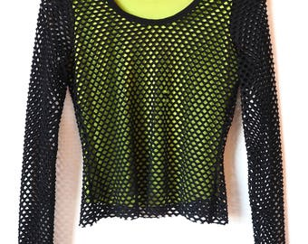 1990's Long sleeve hacker/rave girl NETTED green apple shirt