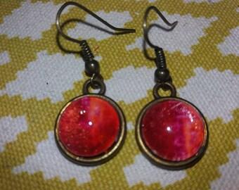 Red earrings unique medium bronze
