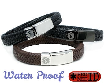 Medical Alert ID SOS Bracelet with Soft Waterproof Leather - Personalised - Any Engraving on Front and Back -  17 19 21 23cm by REDMEDID
