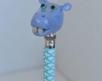 Purple Hippo Pencil Topper, Hippo Polymer Clay, Polymer Clay, Clay Pencil Topper, Pencil Topper