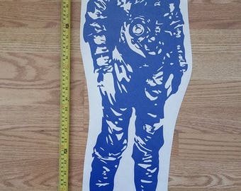 Large Blue Vinyl Neil Armstrong Wall Decal w/Autopen Signature