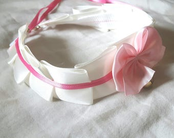 White and Pink Kitten Play Collar (Made to Order)
