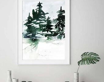 Green Art, Green Print, Printable Art, Green Watercolor Art, Watercolour Print, Home Decor, Wall Art, Modern Art, Modern Wall Art