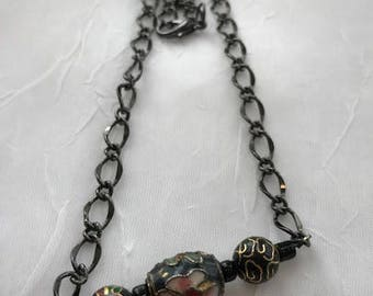 Black Cloisonne Beaded Bar Necklace