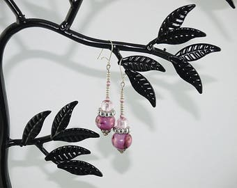 Silver Ceramic bead earrings, silver and pink bow