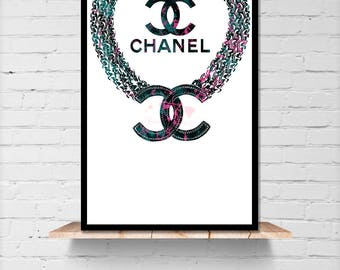 Chanel Inspired Jewelry Instant Download - Chanel Blue Wall Art - Chanel Jewelry Illustration Printable - Chanel Inspired Fashion Art Decor