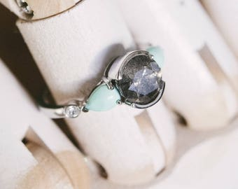 Custom Speckled Gray Diamond Engagement Ring Gemstone Ring Bague Fine Gift For Her Gold Ring Turquoise Ring Bridal Jewelry Diamond Ring