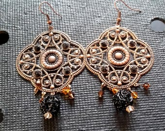 Chic vintage copper retro earrings
