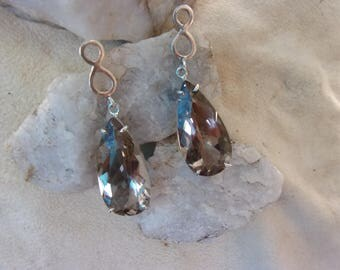 Earrings in silver and gemstones (quartz)