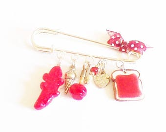 """brooch """"strawberry flavor"""" charms"""