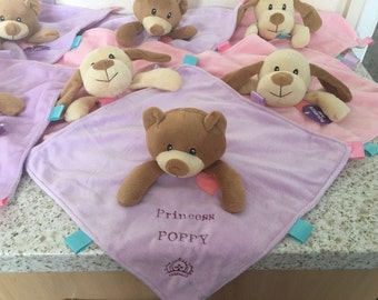 Personalised dog, puppy comforter toy, teddy