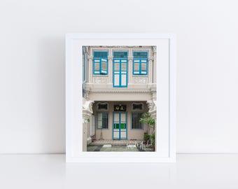 Color Photograph of a Beautiful Blue & White Singapore Shophouse