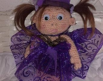 Violet wool crocheted 28 cm doll
