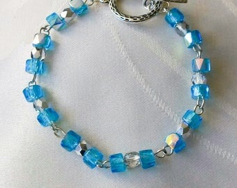 Women Bohemian blue and silver grey Crystal beads bracelet