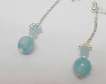 Aquamarine and 925 Sterling Silver earrings