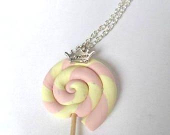 Vanilla-Strawberry polymer clay lollipop necklace