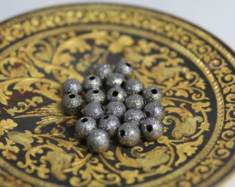 "Set of 20 ""stardust"" color metal beads 6 mm smoke grey"