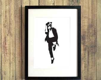 Michael Jackson Dancing Hat Silhouette - A4 Art Print - Download and Print at Home