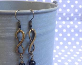 Infinity earrings bronze metal