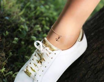 14K Gold Anchor Anklet/Hand-made Gold Anklet / Gold Anklet Available in 14k Gold, White Gold or Rose Gold