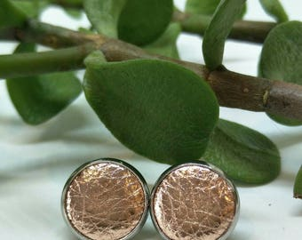 Leather studs in rose gold print