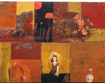 Contemporary Art / Large Painting / Mixed Media on Reclaimed Wood / Acrylic / Collage / Home Decor / 31 x 46 inch - Red