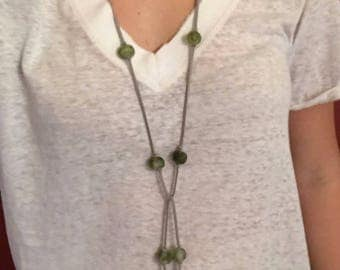 Green and Gray Recycled Glass Bead Wrap Necklace