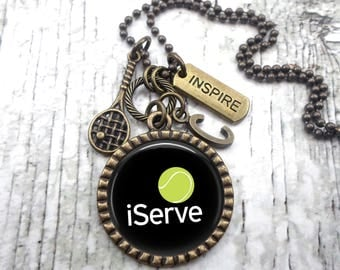 i Serve Tennis Necklace, Key Ring, Backpack Clip, Unisex, Boys, Teens, Men, Coach Gift, Monogram Initial, Athlete Birthday, Sports