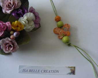 orange Butterfly pendant with flowers