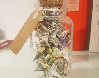 Medium Jar of Fairy Tale Origami Cranes