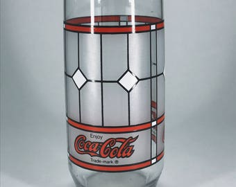 1984 Red and White Stained Coca Cola Glass Cup