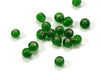 100 beads | 100 pcs irregular green white glass beads, clear translucent green glass beads 4mm, beads, pearls