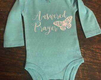 Answered Prayer Glitter Infant Bodysuit / Long Sleeve / Baby Girl 3 Months