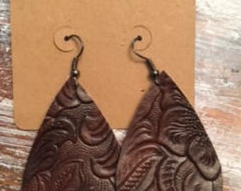 Patterned Brown Leather Tear Drop