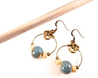 """Ceraka"" ceramic blue & wood earrings"