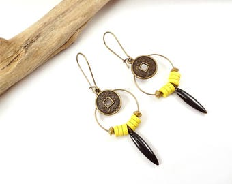 "Earrings ""Santiago"" yellow, black and Bronze"