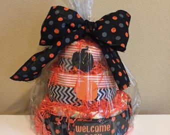 3tier halloween diaper cake orange and black halloween