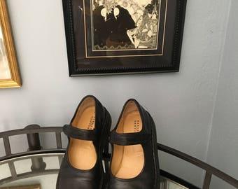 barney's leather mary jane flatforms