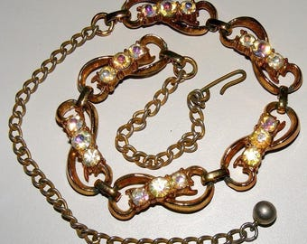 "VTG Austrian Crystal Necklace 16"" Rose Gold Tone/Copper Metal Lovely Design ET3606"