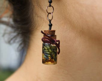 filled with oils and organic essential oils diffuser vials earrings