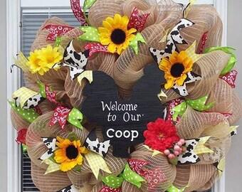 Summer wreath, Chicken Wreath, Kitchen Wreath