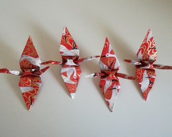 4 handmade little red patterned origami cranes (Japanese Yuzen  Chiyogami paper)