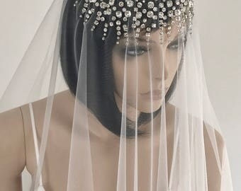 Hand Beaded Blusher Bridal Veil ELENA/ Two Tier Veil/ Cathedral Veil/ Expensive Wedding Veil/ Sparkling Wedding Veil/ Crystal Bridal Veil