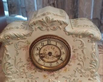 Late 19th Century Antique Waterbury Clock Co. Porcelain Shelf Clock