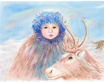 Reindeer Boy Archival Giclée Print on Archival Fine Art Paper Made of Cotton