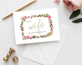 Printable 5x7 To my Wife Card | To My Wife Wedding Card | Wedding Thank You Card | Foliage Thank You Card