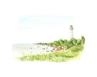 Watercolor Kihnu lighthouse - giclee print